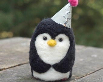 Needle Felted Penguin - Party Hat