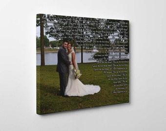 Unique canvas print framed wedding vows gift
