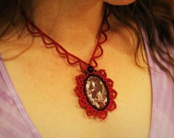 Rhodochrosite macrame flower necklace