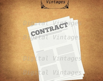 Contract Business Logo Icon Illustration Vintage Antique Digital Image Download Printable Graphic Clip Art Prints HQ 300dpi svg jpg png