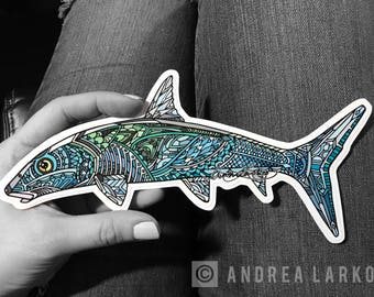 Feeding Bonefish Zentangle Laminated Die Cut 3M Vinyl Decal