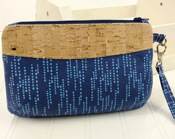 Curvy Clutch w/ Wrist Strap - Navy Dash & Natural Metallic Cork Fabric