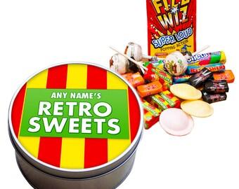Personalised  RETRO Sweet Tin refresher pow colourful black jack fruit salad ulta violet fizzy pop