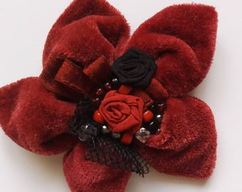 Wine red Brooch Burgundy Velvet Brooch, Dark red Rose Valentines Gift for Her Handmade rose Beautiful BroochMother day gifts Red Roses Gifts