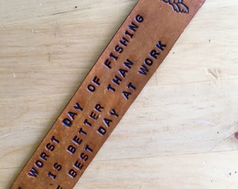 Leather Bookmark Retirement Gift for Fisherman Fish Boomark - Love That Leather