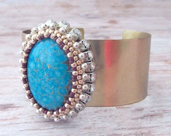Gold Adjustable Gemstone Cuff Bracelet - Gifts for Her - Gold Bracelet - Faux Stone Cuff - Chunky Boho Jewelry - Adjustable Bracelet for Her