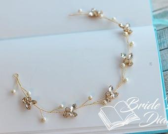 Wedding hair jewelry, rhinestones and pearls bridal wreath, gold hair vine
