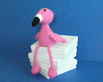 Flamingo Knit Plushie Doll / Knit Pink Flamingo