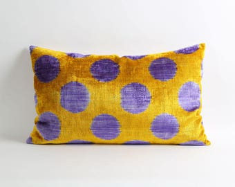 Yellow velvet ikat pillow cover, ikat pillow, yellow and purple ikat pillow, polka dot pillow, decorative pillow, accent pillow