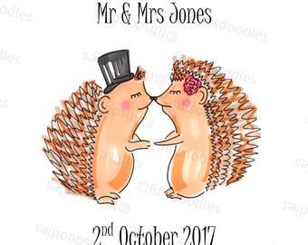 Mr & Mrs Hedgehog - Personalised Wedding Gift