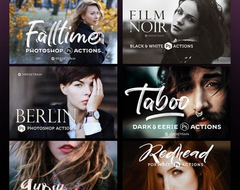 New Photoshop Actions Bundle 2018 - 10 best-selling action collections by Presetrain - portrait, landscape, lifestyle and wedding actions.