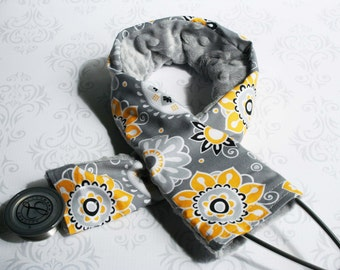 Padded Stethoscope Cover - Nurse, Doctor, Med Student,  Medical Assistant - Gift - Yellow Flowers with Gray Minky -  Gift Nurse