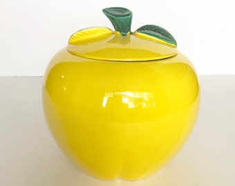 Vintage Ceramic Lemon Cookie Jar Canister Container