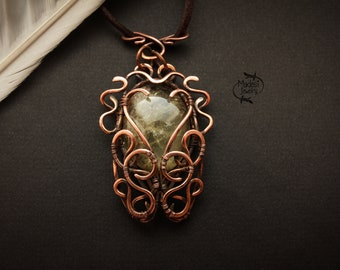 Cicada necklace Insect necklace Citrine copper pendant Wire wrapped pendant Art nouveau jewelry