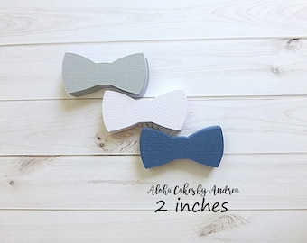 Bow Tie Confetti, Little Man Baby Shower, Its A Boy Party Ideas, Bow Tie Decor, Scrapbook, Die Cut, Navy Blue Gray White 2 inches, Set of 60