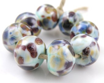Surf's Up SRA Lampwork Handmade Artisan Glass Donut/Round Beads READY to SHIP Set of 8 8x12mm