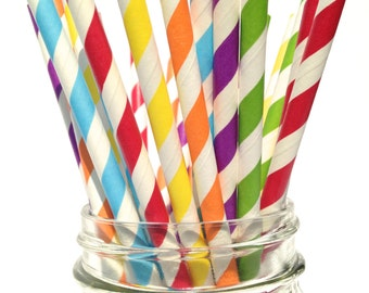 Rainbow Party Straws, Striped Paper Straws for Rainbow Birthday Party, Lincoln