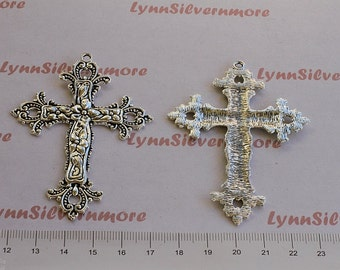 2 pcs  -  70x51mm Filigree Cross Pendant Antique Silver Finish Lead Free Pewter