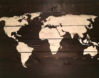 Handmade Wooden World Map Décor