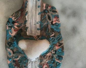 Heart White quartz necklace.