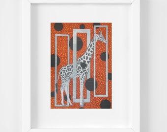 Orange Giraffe Art, 11x14 Matted Print, Wildlife Artwork, Wild Animal Print, Orange Black Silver, Nursery Decor, Safari Wall Art, Kids Room