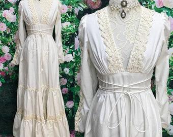 Gunne Sax 70s Cream Cotton Lace Crochet Maxi Prairie Dress Sz 9