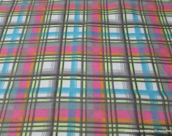 Flannel Fabric - Pastel Plaid - By the yard - 100% Cotton Flannel