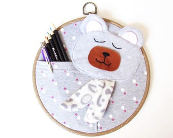 Teddy bear embroidery hoop wall art stationery holder