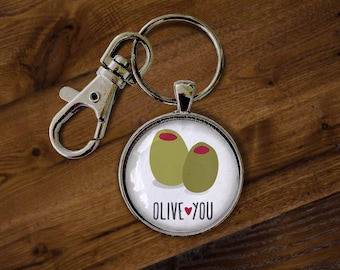 Olive You Keychain - Keyring, Key Holder, Key chain, Key ring, Love, Valentine's Day, Sweetest Day, I Love You, Love You More, Wife, Husband