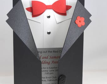 8 Custom Tuxedo Party Invitations with Red or Gold Bowtie