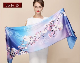 100% Silk Scarf For Women And Girl, Handmade Print Silk, Blue Scarf, Women Gift, Christmas Gift, Floral Scarf
