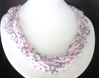 Glass Seed Bead Necklace Torsade12 Strands Pink & Gray Wear Loose or Twisted 18 - 21 Inches