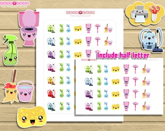 Kawaii chores printable planner stickers for your Life Planers.