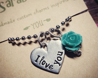 I love you necklace; rose; daughter necklace