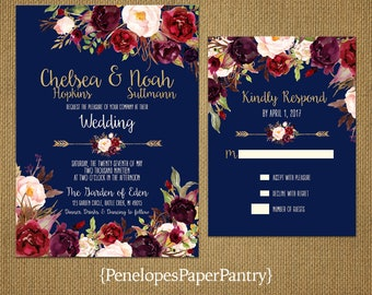 Elegant Rustic Fall Wedding Invitation,Navy,Burgundy,Blush,Marsala,Roses,Floral Arrow,Gold Print,Shimmery,Romantic,Custom,Printed Invitation