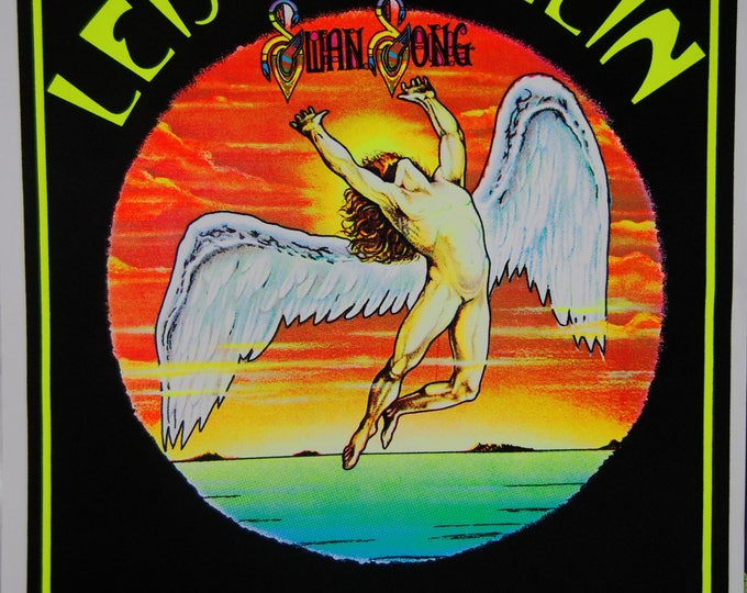 Rare Led Zeppelin Swan Song Flocked BLACK LIGHT Poster UV