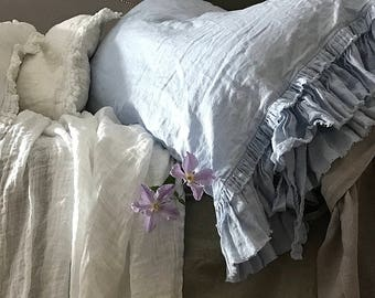 "Linen pillowcase 'Sauvage' with double frayed ruffles and ties. Shabby Chic Linen bedding, 20x24"" 20x26"" - sky blue color"