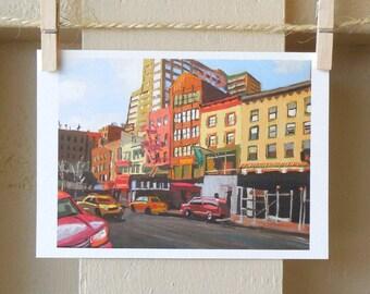 Westside NYC Cityscape, New York City Painting Manhattan NYC Art Print, Red Brick Buildings, Street Urban Art,  Gwen Meyerson