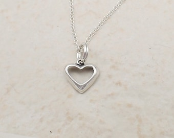 Open Heart Necklace Sterling Silver Dainty Heart Charm Pendant Cable Chain Love Valentine