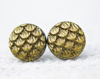 Bronze Dragon Earrings, Gold Dragon Earrings, Dragon Scales, Mermaid Scales, Dragon Jewellery, Mermaid Jewellery, Mermaid Tail, Post Earring