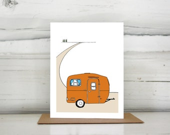 Illustrated vintage travel trailer camper greeting card, The Scamp