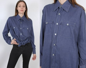 70s Levis Shirt // Vintage Button Up Long Sleeved Chambray Top Mens Womens - Extra Large to XXL