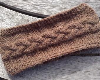 Pure alpaca dark brown headband / ear warmer by Willow Luxury (one size)