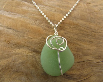 Frosted Green Sea Glass Necklace/ Handmade/ Hand Crafted/ Wire Wrapped/ Green Beach Glass Necklace/ Sterling Silver