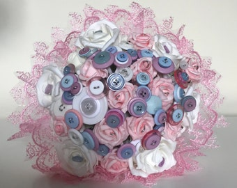 Forget Me Not Button Bouquet - Handmade beautiful bridal bouquet bespoke pastle pink and baby blue Wedding Flowers Bridesmaid Artificial