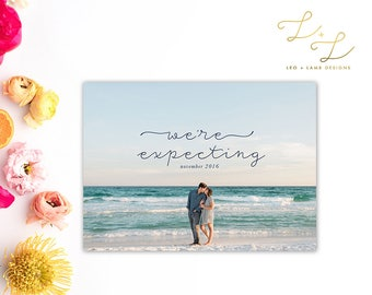 We're Expecting Photo Card - Printable or Printed - 5x7 Pregnancy Announcement - Birth Announcement