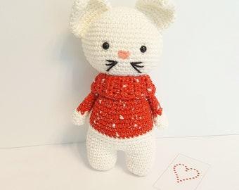 Baby lovey handmade amigurumi cat, crochet baby cat, birth gift