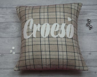 Croeso Cushion/ Handmade Welsh appliquéd croeso/welcome cushion/pillow