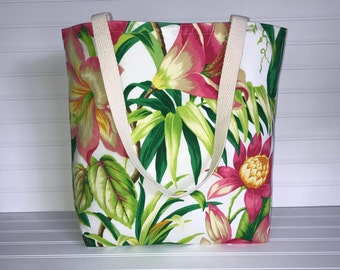Tropical Floral Tote | Handmade Everyday Tote | Market Bag