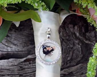 Bouquet Photo Charm Rhinestone Round Silver Wedding Bridal Memory Frame Bling